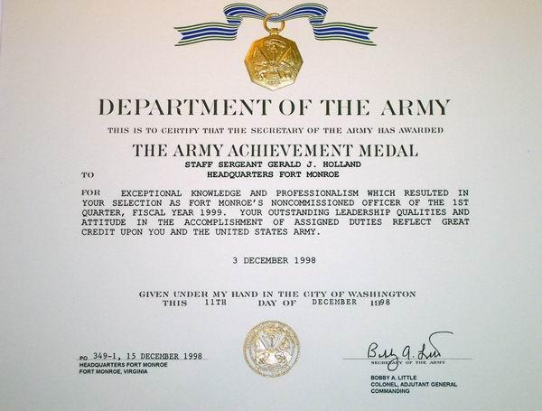 Gerald J Holland Certificates