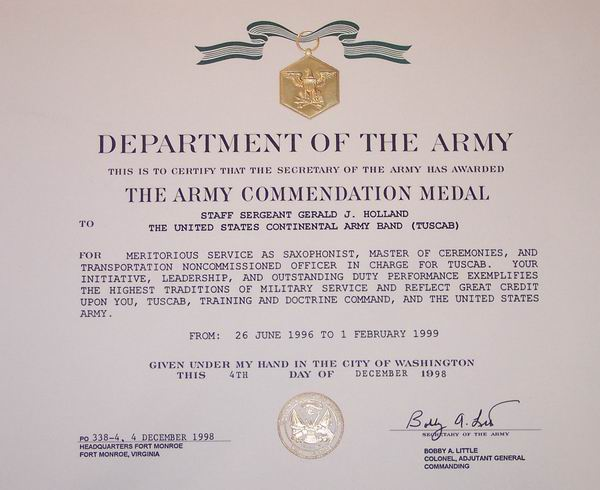 Gerald J Holland Certificates Army Good Conduct Medal Certificate